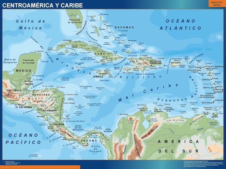 Mapa Fisico De America Central