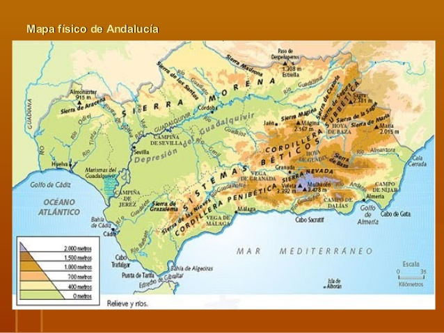 Mapa de Andaluca  Mapa Fsico Geogrfico Poltico turstico y