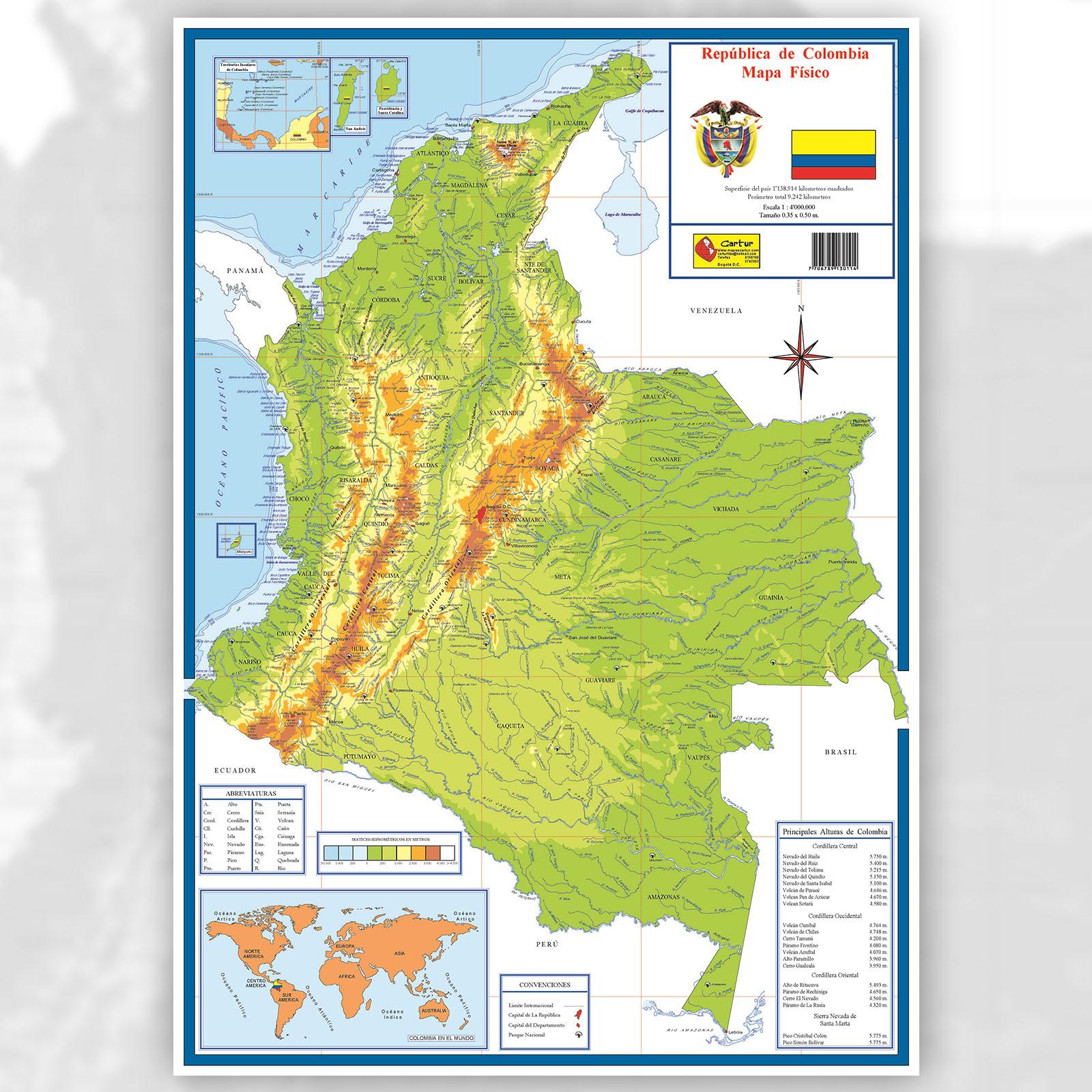 Mapa de Colombia con sus lmites  Mapa Fsico Geogrfico