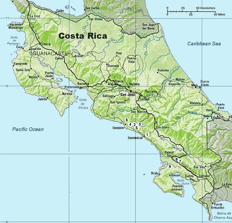 Mapa de Costa Rica  Mapa Fsico Geogrfico Poltico turstico