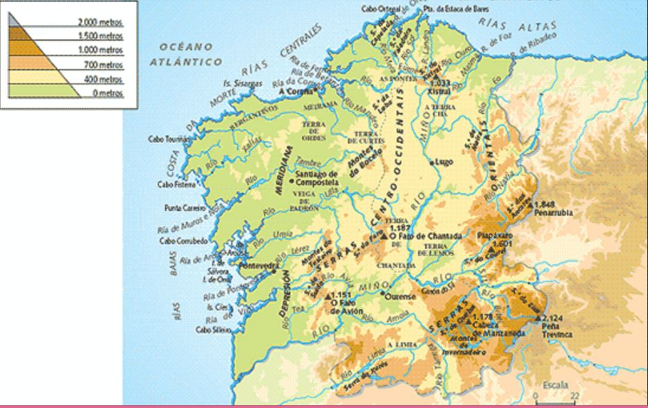 Mapa de Galicia  Mapa Fsico Geogrfico Poltico turstico y