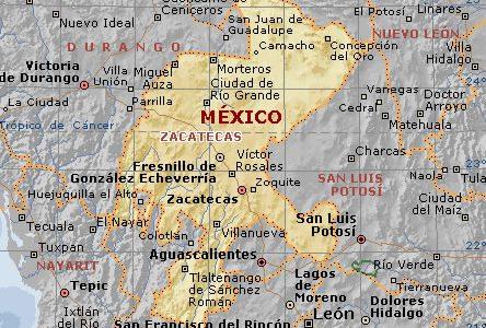 Mapa fisico de Zacatecas
