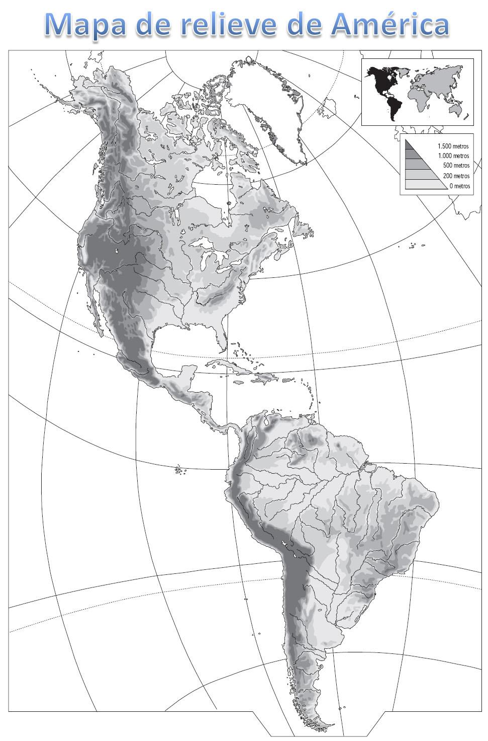 Mapas de America para colorear  Mapa Fsico Geogrfico Poltico