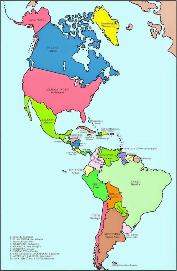 Mapa Poltico de Amrica con ...