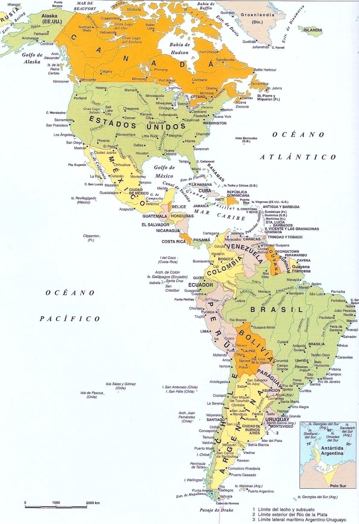 Mapas de America poltico  Mapa Fsico Geogrfico Poltico