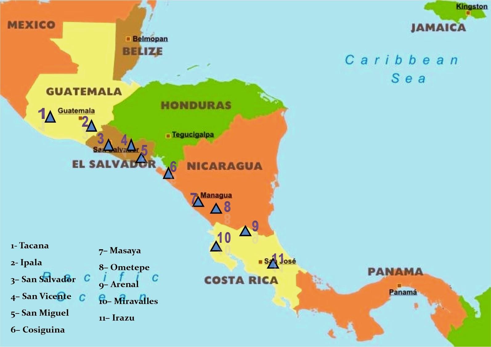 Mapa de America Central  Mapa Fsico Geogrfico Poltico