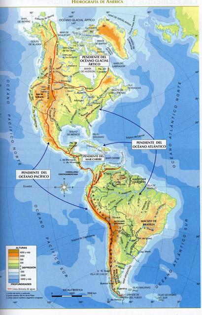Mapa de America con nombres  Mapa Fsico Geogrfico Poltico
