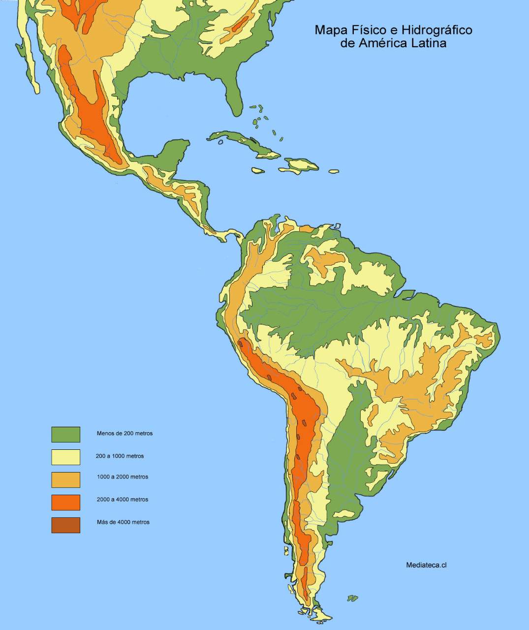Mapa de Amrica Latina  Mapa Fsico Geogrfico Poltico