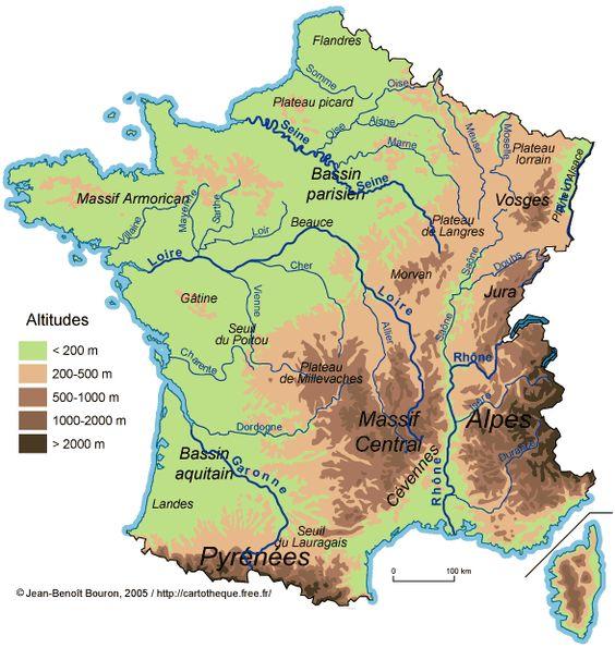 Mapa de Francia  Mapa Fsico Geogrfico Poltico turstico y