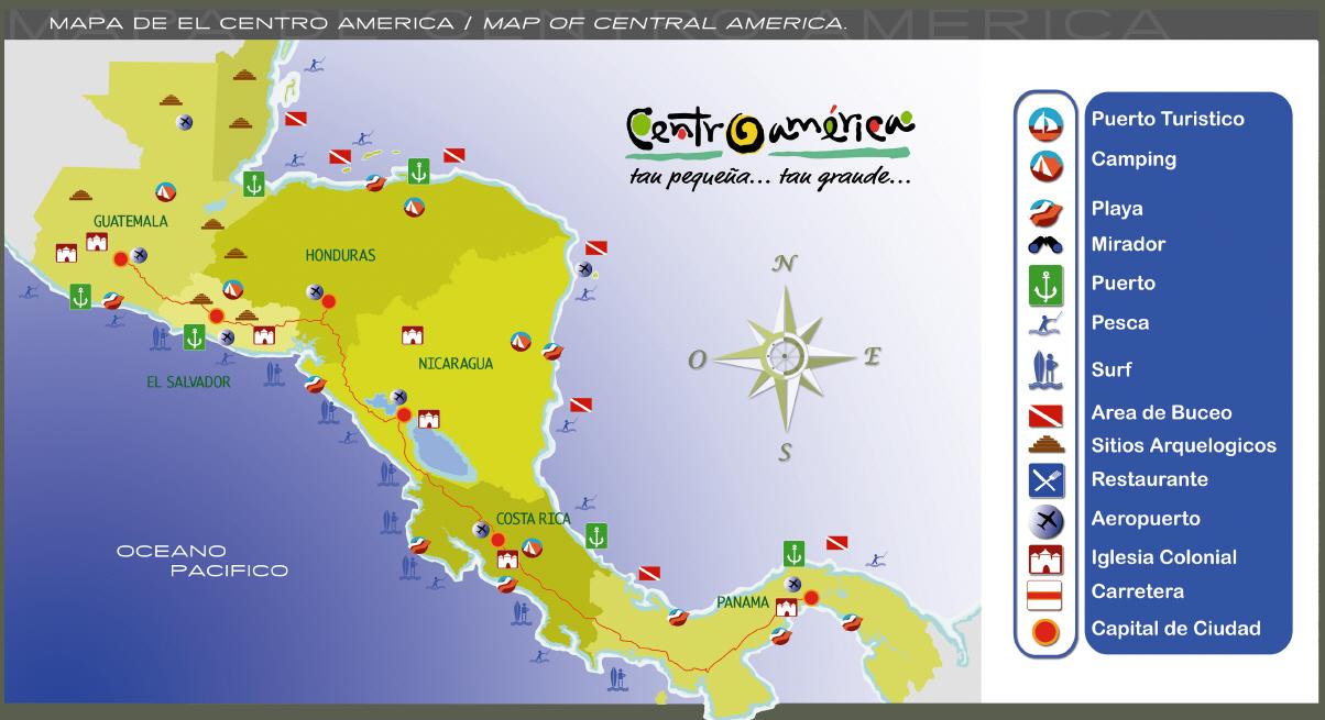 Mapa de Centroamrica  Mapa Fsico Geogrfico Poltico