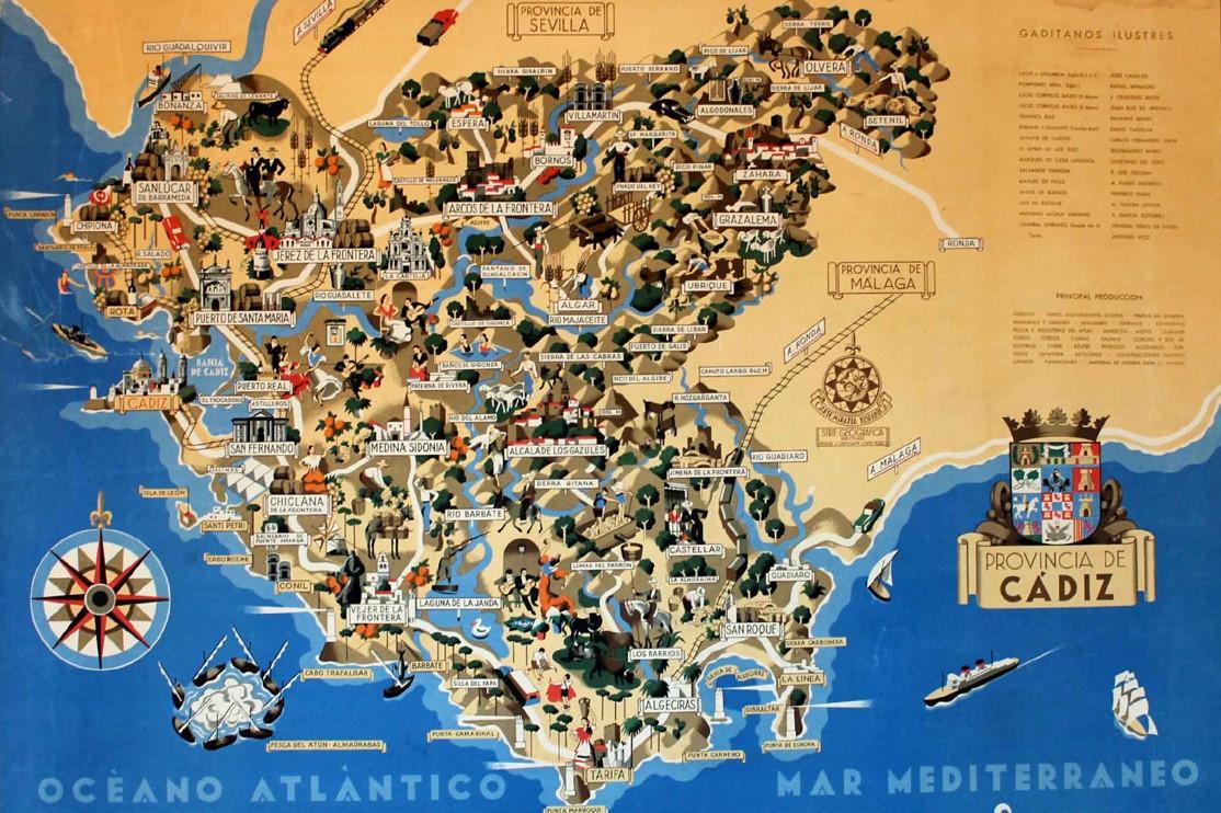 Mapa de Cdiz  Mapa Fsico Geogrfico Poltico turstico y