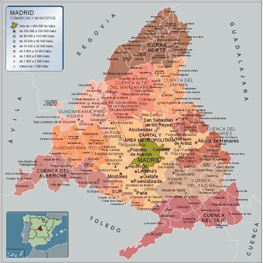 Mapa de madrid mapa f sico geogr fico pol tico for Donde esta la comunidad de madrid