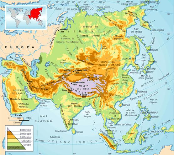Mapa de Asia  Mapa Fsico Geogrfico Poltico turstico y