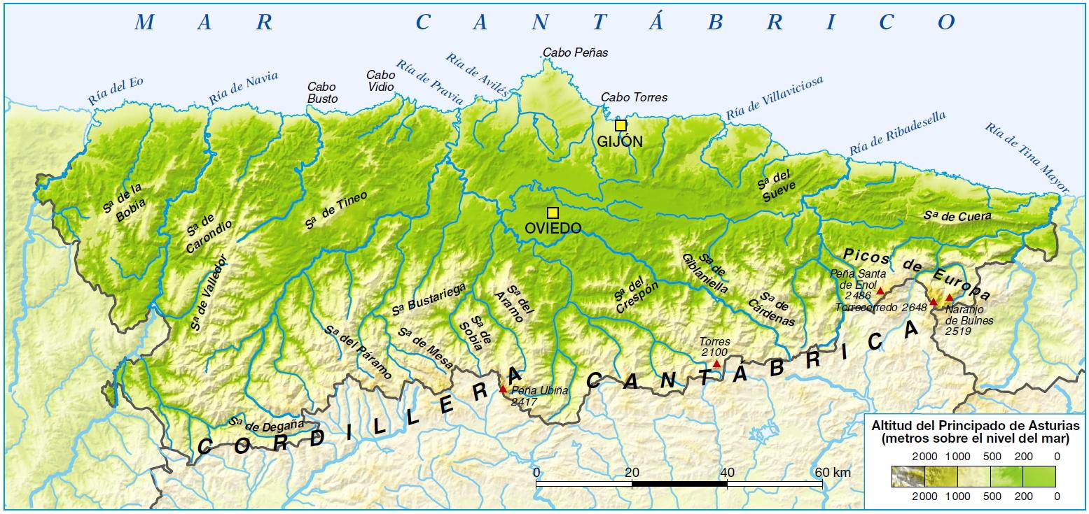 Mapa Fisico Asturias  My blog