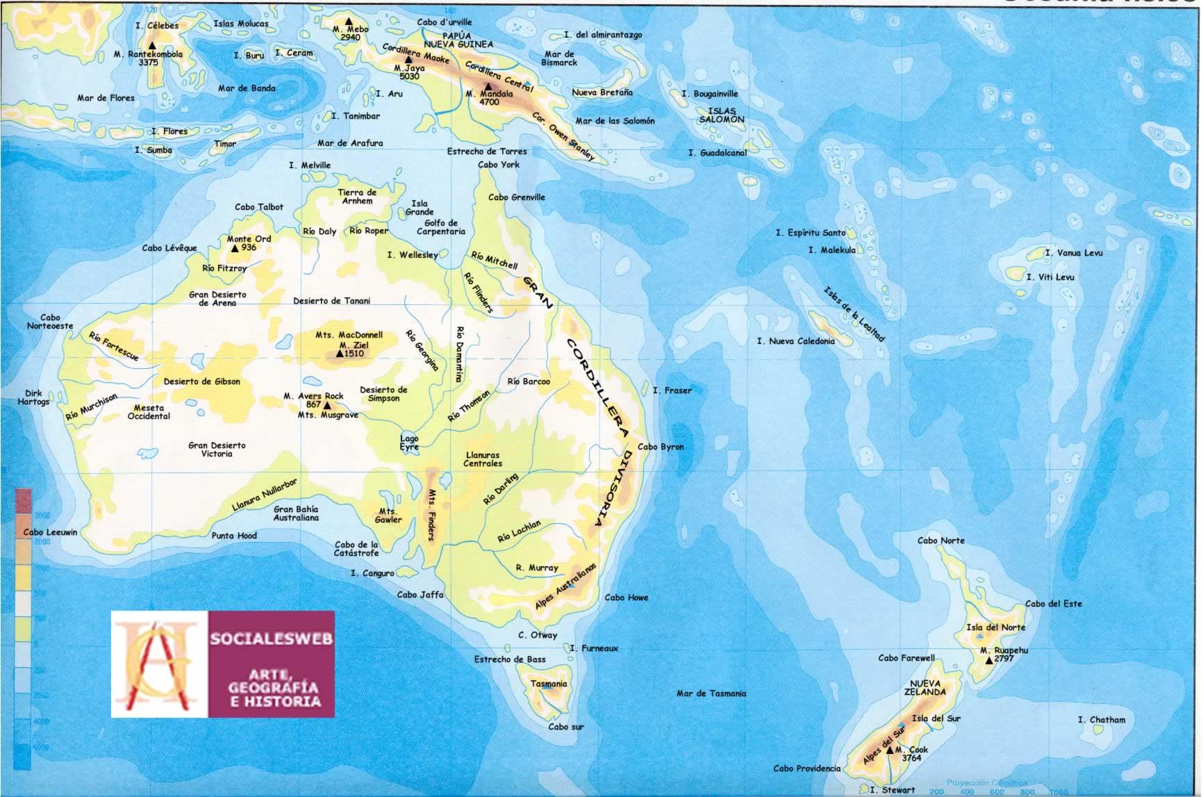 Mapa de Australia  Mapa Fsico Geogrfico Poltico turstico y