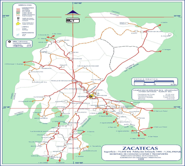 Mapa de Zacatecas  Mapa Fsico Geogrfico Poltico turstico y