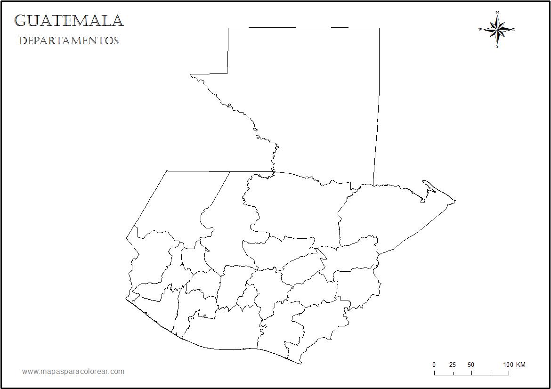 Mapa de Guatemala para colorear - Mapa Físico, Geográfico, Político ...