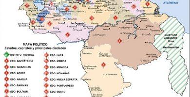 Mapa de Venezuela con sus estados y capitales