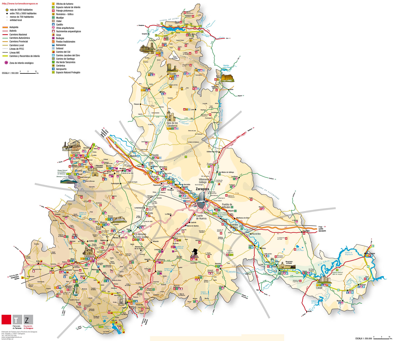 Mapa de Zaragoza   Mapa Físico, Geográfico, Político, turístico y