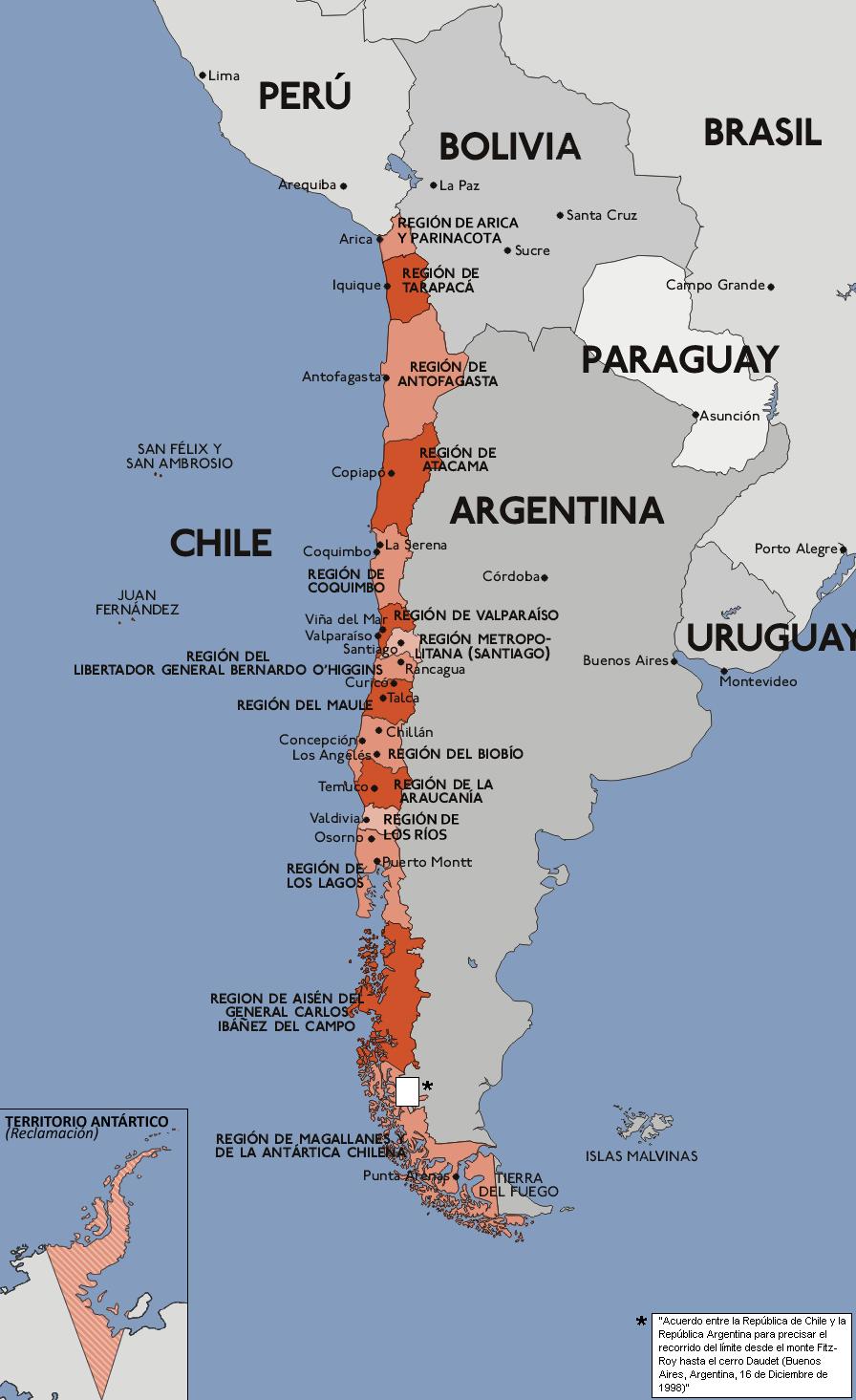 Mapa de chile mapa fsico geogrfico poltico turstico y mapa de chile sciox Choice Image