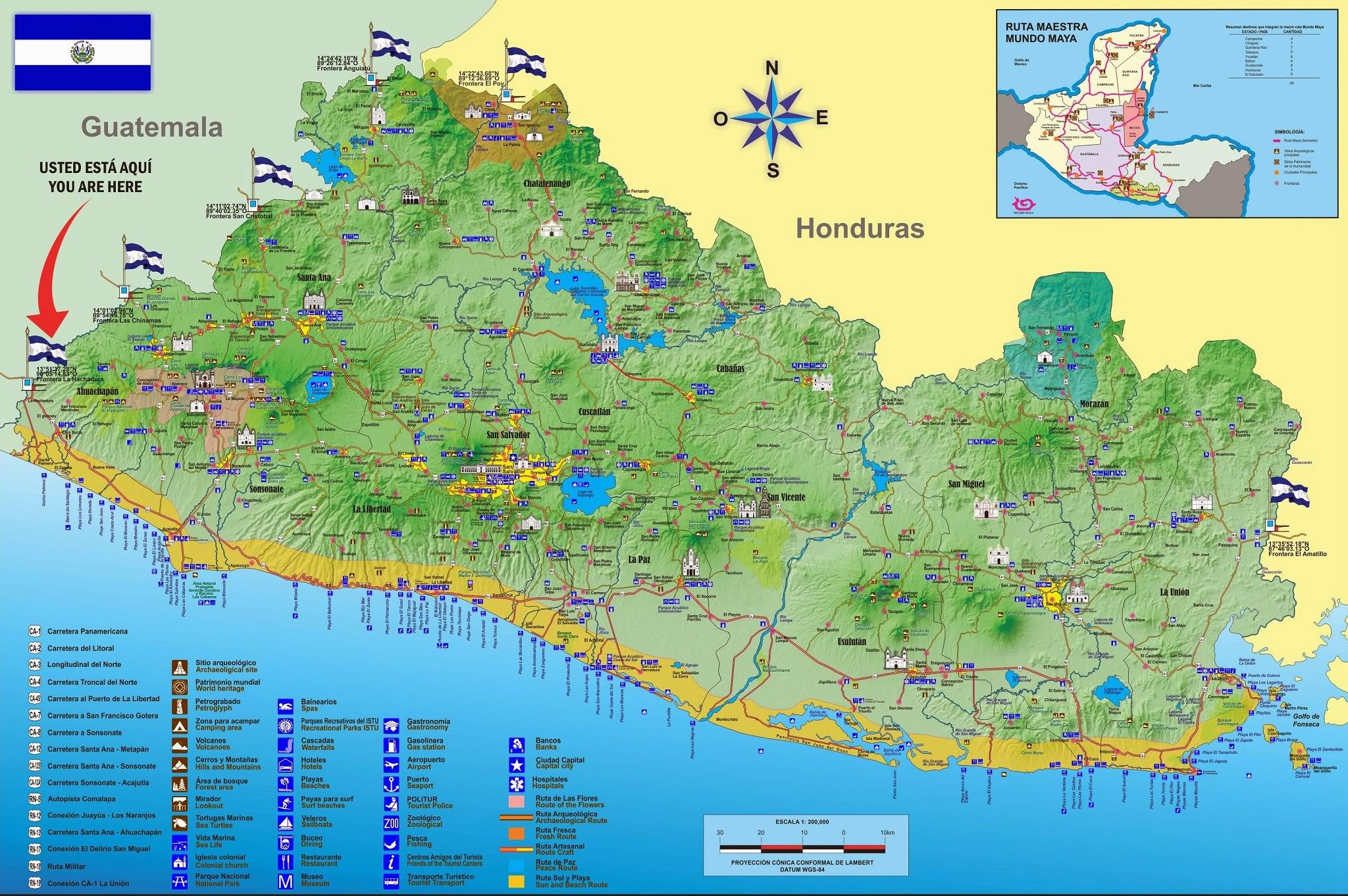 Mapa De El Salvador Mapa Fisico Geografico Politico Turistico Y Tematico