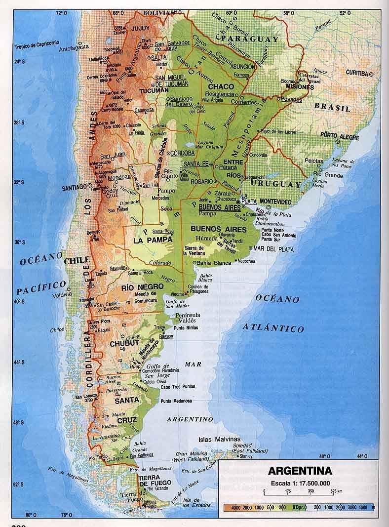 Mapa De Argentina Politico Mapa Fisico Geografico Politico