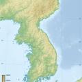 Mapa fisico de Corea