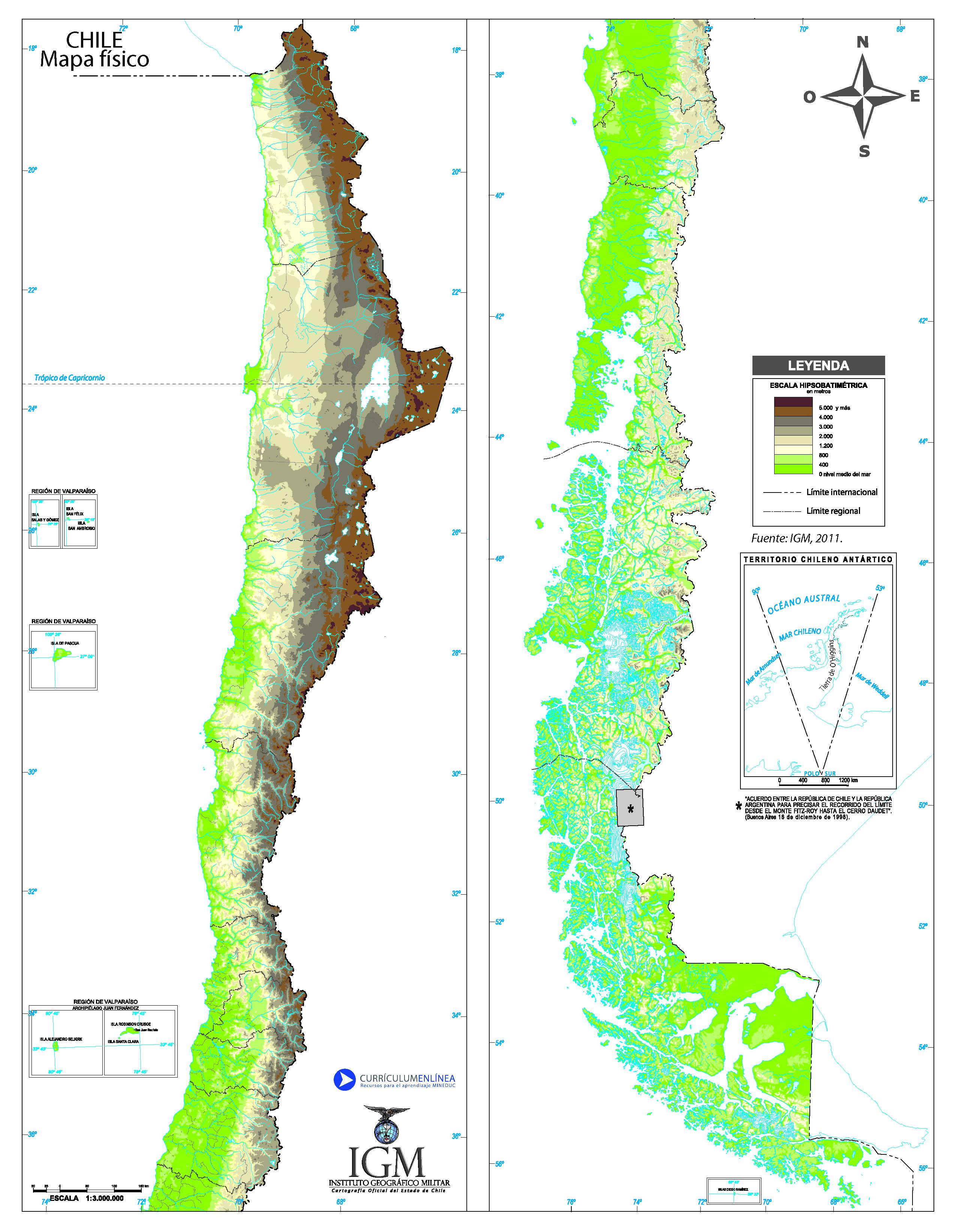 Mapa de chile mapa fsico geogrfico poltico turstico y mapa fisico de chile sciox Choice Image