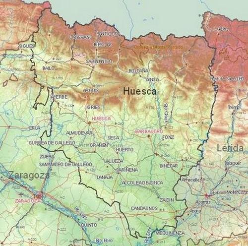 Mapa De Huesca Pirineos.Mapa De Huesca Mapa Fisico Geografico Politico