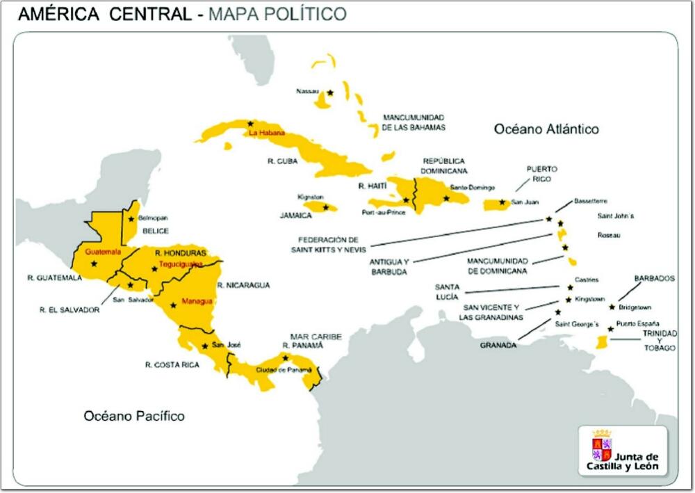 Mapa de America Central   Mapa Físico, Geográfico, Político