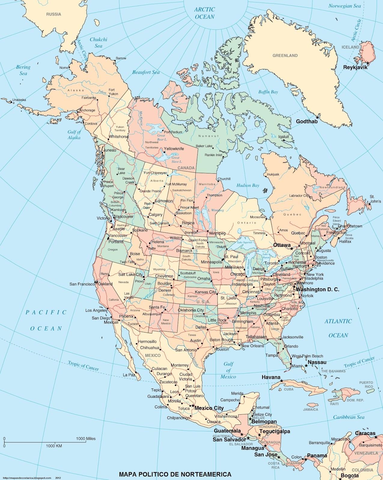 Mapa de America del Norte - Mapa Físico, Geográfico, Político ...
