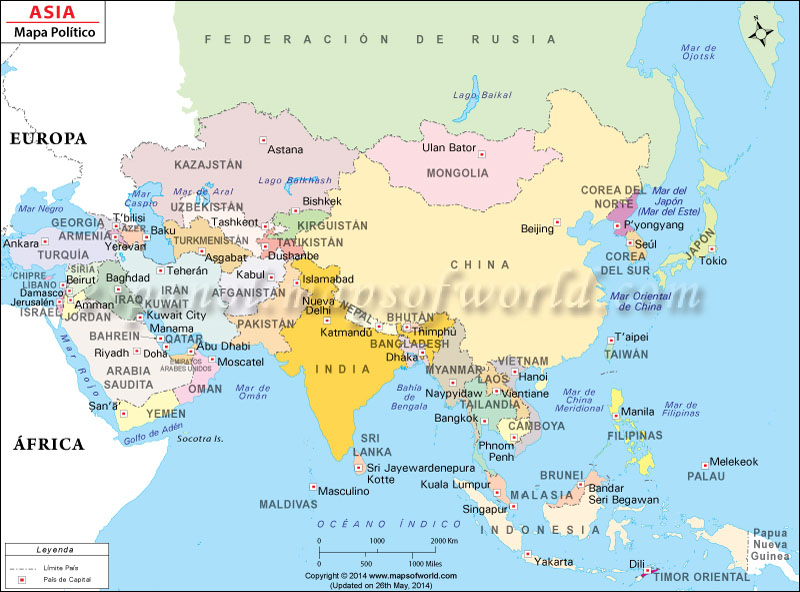 Mapa Politico De Asia Mapa Físico Geográfico Político Turístico Y Temático
