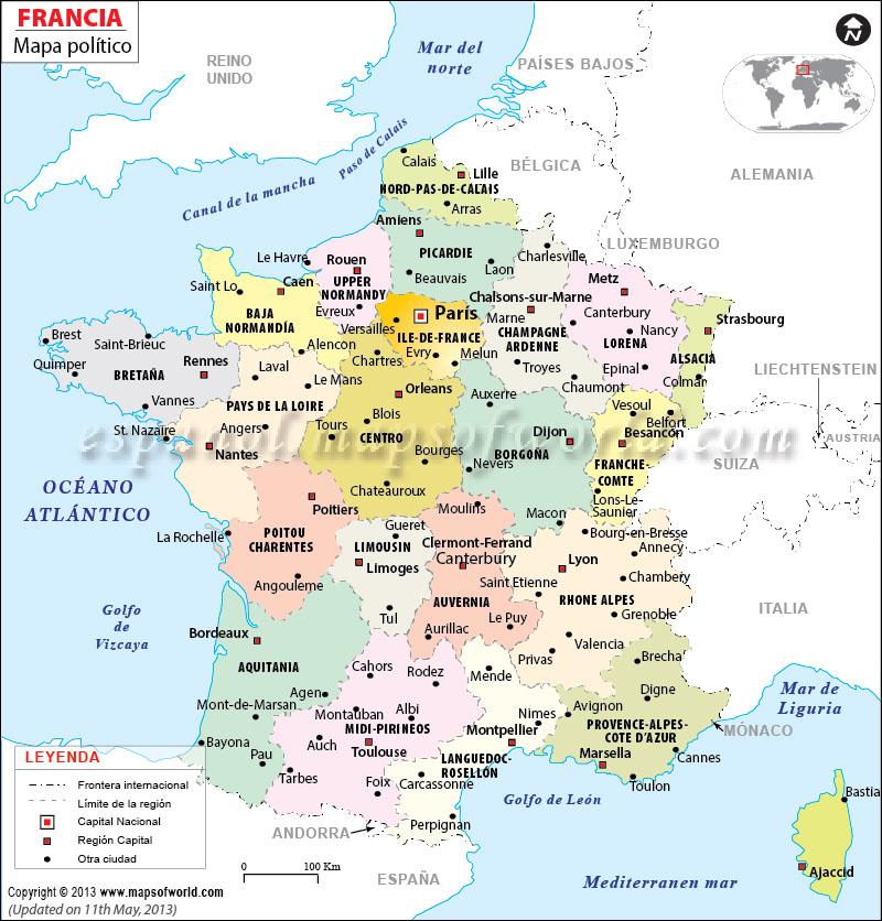 Mapa Politico De Francia 2019.Mapa De Francia Mapa Fisico Geografico Politico