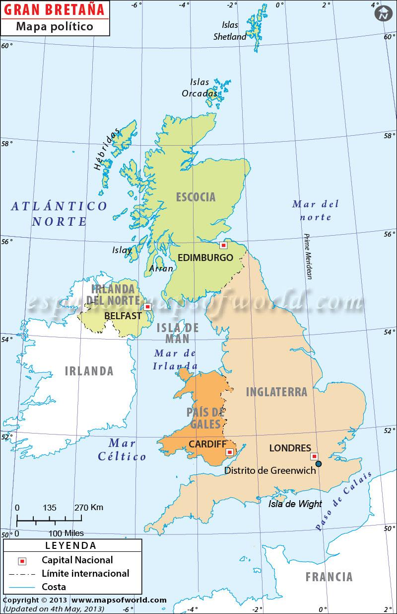Mapa De Gran Bretaña Mapa Físico Geográfico Político Turístico Y Temático