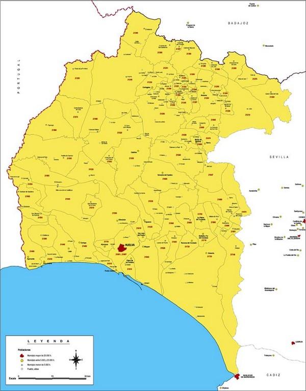 Pueblos De Huelva Mapa.Mapa De Huelva Mapa Fisico Geografico Politico