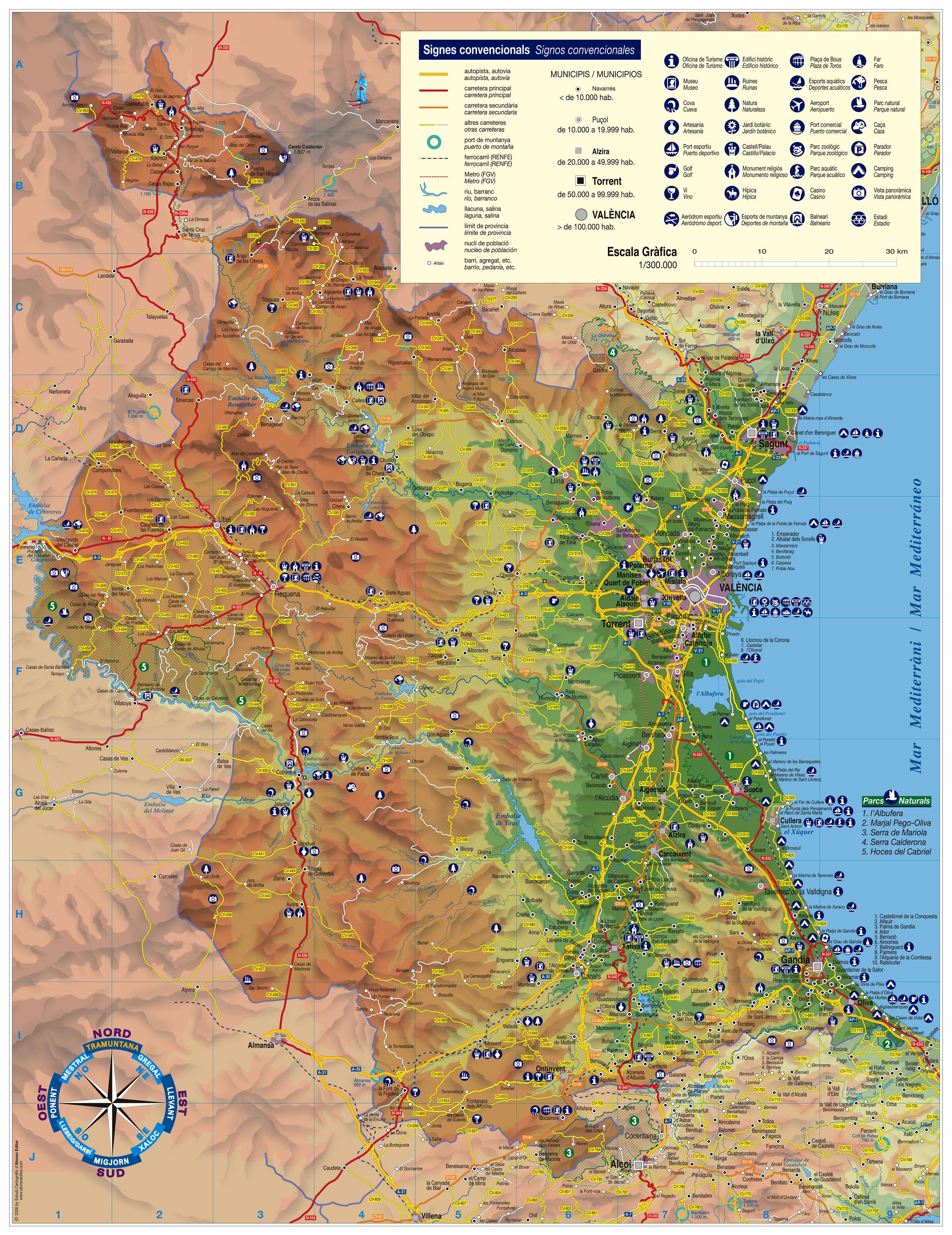 Mapa Rios Comunidad Valenciana.Mapa De Valencia Mapa Fisico Geografico Politico