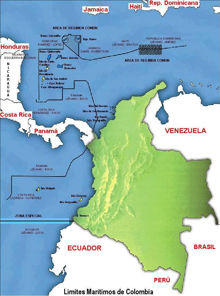Mapa de Colombia con sus límites - Mapa Físico, Geográfico, Político ...