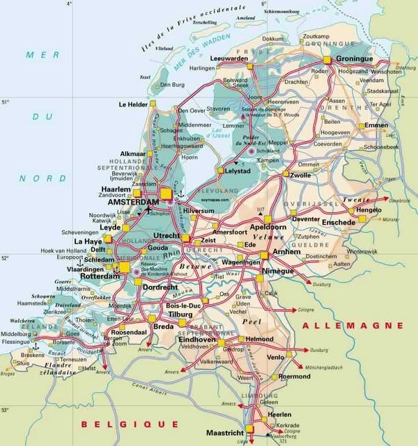 holanda mapa turistico Mapa de Holanda   Mapa Físico, Geográfico, Político, turístico y  holanda mapa turistico