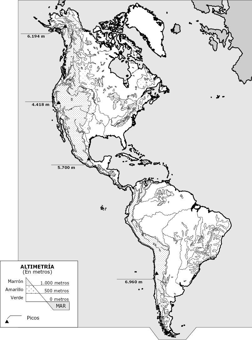 Mapas de America para colorear - Mapa Físico, Geográfico, Político ...