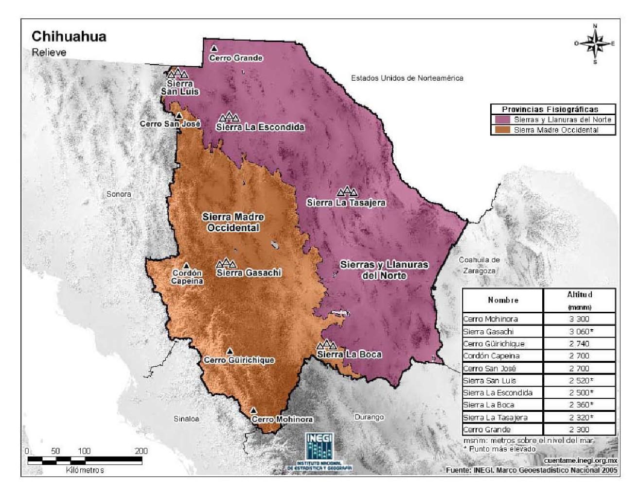 Mapa de Chihuahua - Mapa Físico, Geográfico, Político, turístico y ...