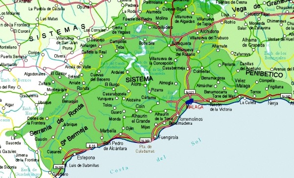 Mapa De Antequera Malaga.Mapa De Malaga Mapa Fisico Geografico Politico Turistico Y Tematico