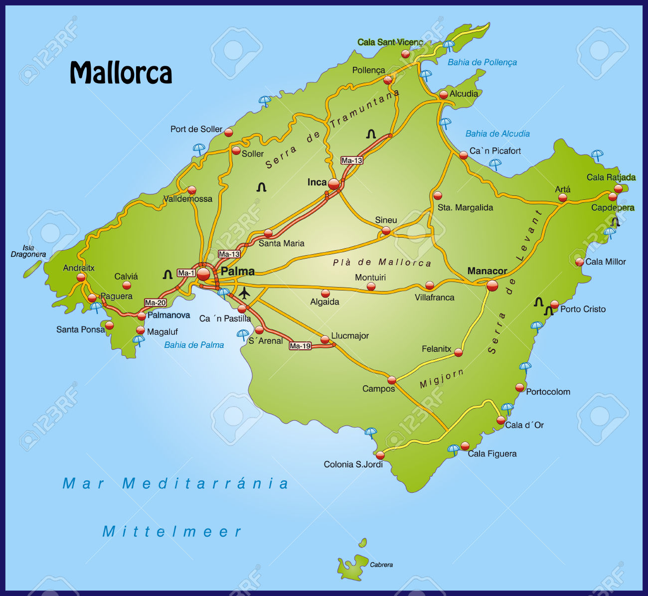 Islas Baleares Mapa Fisico.Mapa De Palma Mallorca Mapa Fisico Geografico Politico