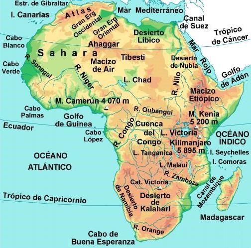 Desierto De Kalahari Mapa.Mapa De Africa Mapa Fisico Geografico Politico