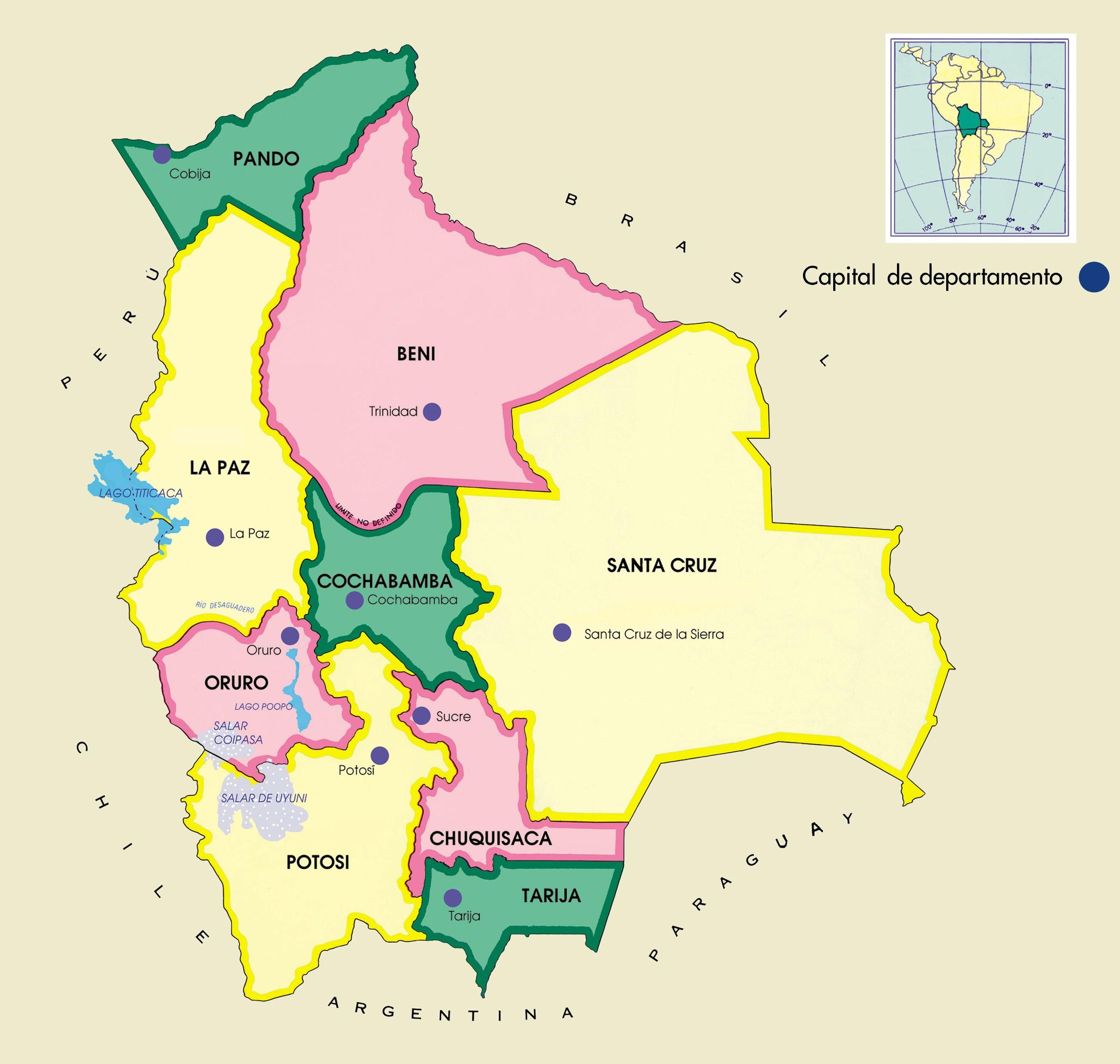 Mapa de Bolivia - Mapa Físico, Geográfico, Político