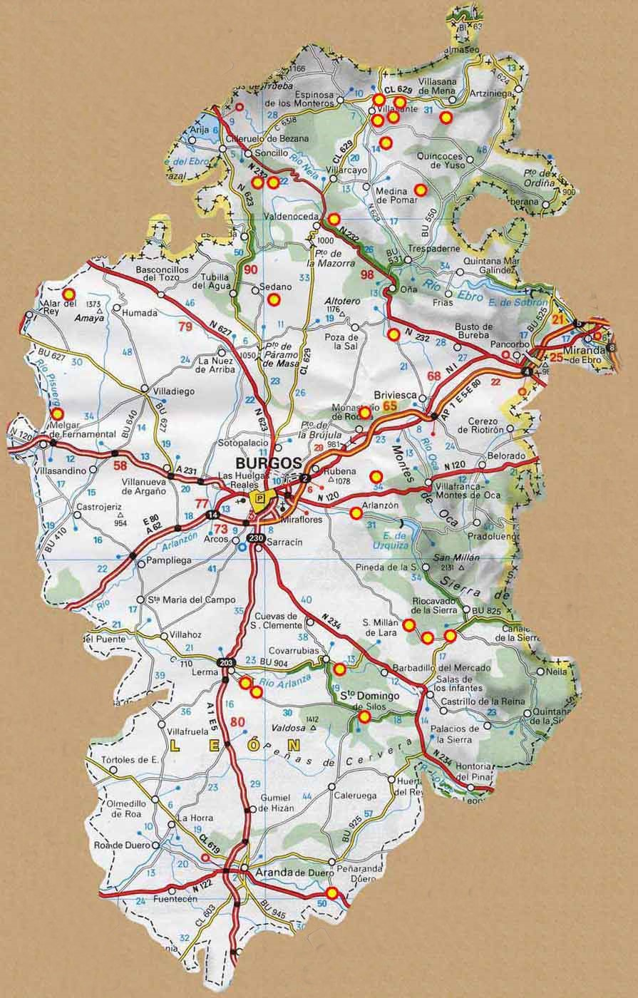 Mapa Turistico Burgos Provincia.Mapa De Burgos Mapa Fisico Geografico Politico