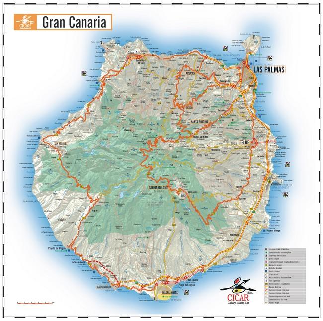 Mapa de gran canaria mapa f sico geogr fico pol tico - Puntos limpios gran canaria ...