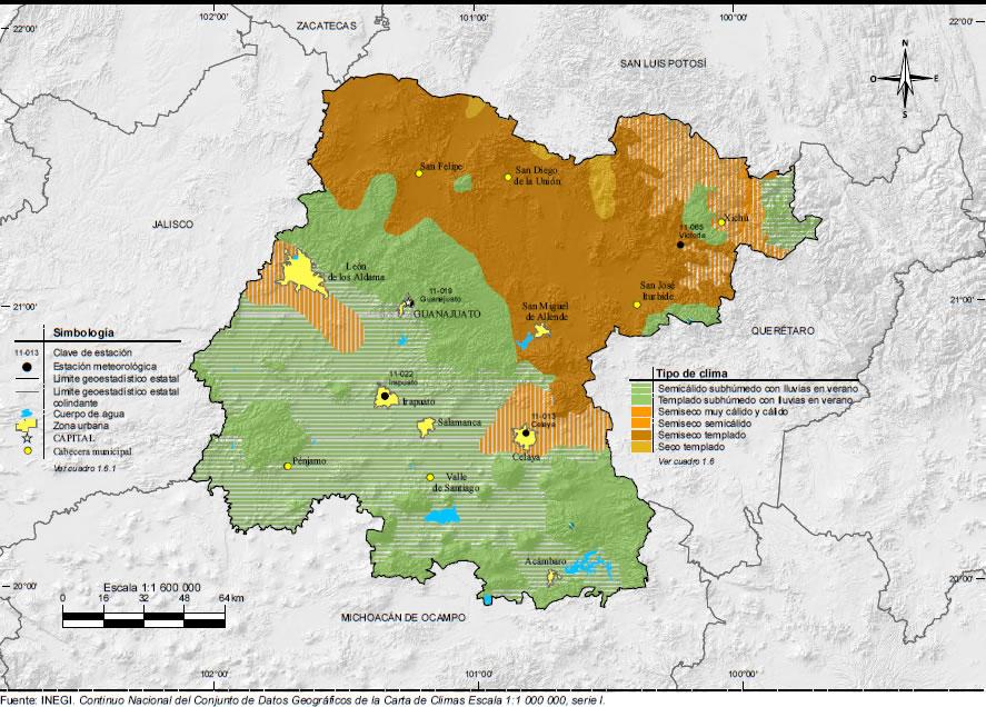 Mapa De Guanajuato Mapa Físico Geográfico Político