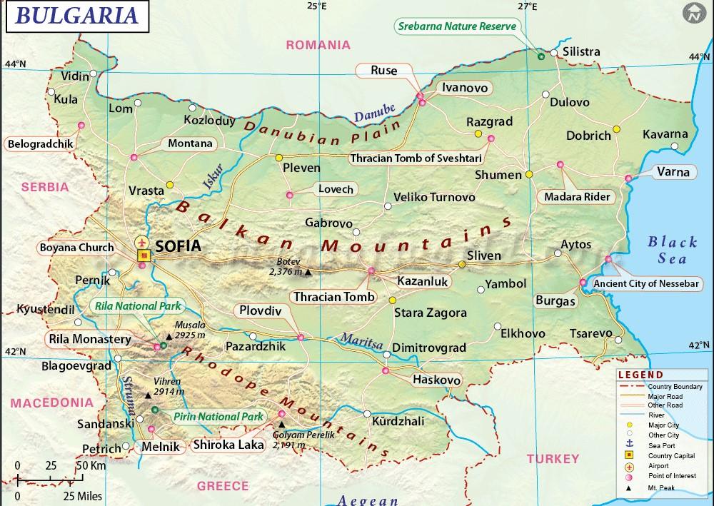 Montes Balcanes Mapa Geografico.Mapa De Bulgaria Mapa Fisico Geografico Politico Turistico Y Tematico