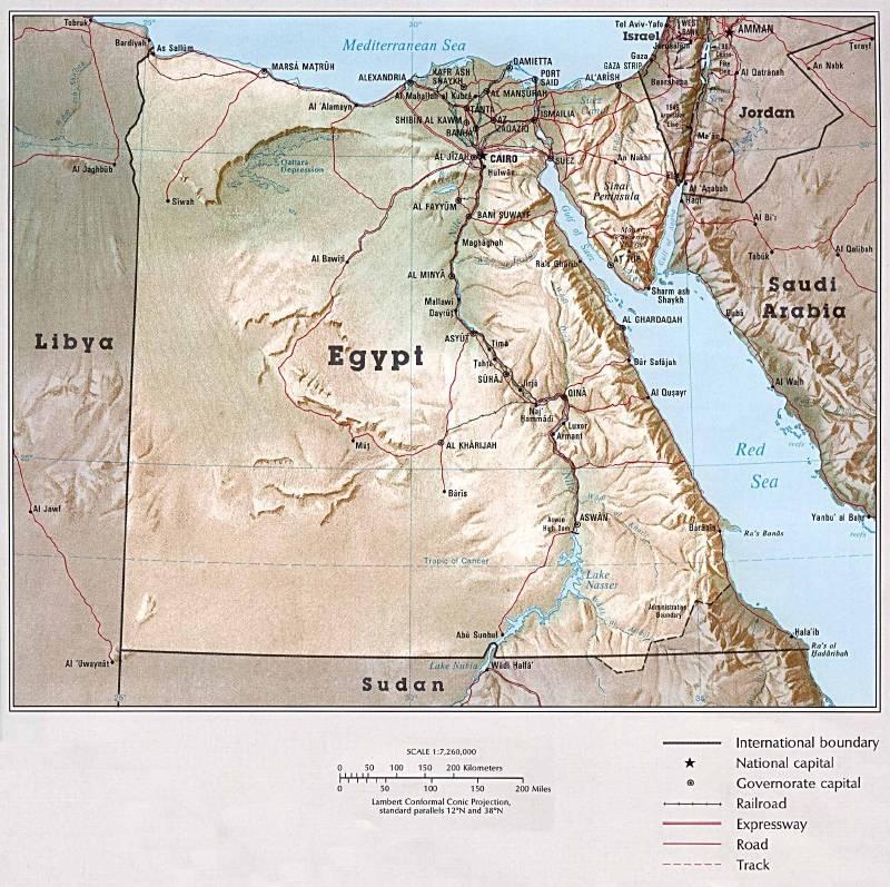 Mapa de Egipto - Mapa Físico, Geográfico, Político, turístico y ...