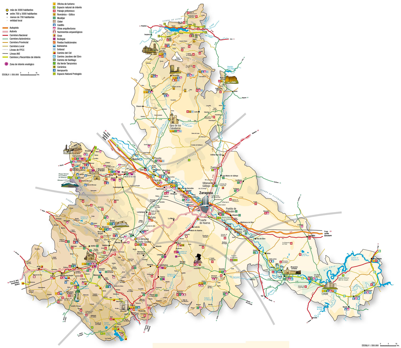 Mapa Provincia De Zaragoza.Mapa De Zaragoza Mapa Fisico Geografico Politico